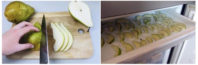 Порезанные кусочками груши можно хранить в холодильнике около 3-4 недель