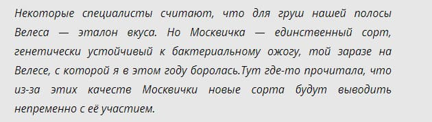 Сорт груши Москвичка: опылители и плодоношение